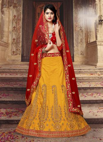 Yellow Silk Festival Wear Embroidery Work Lehenga Suit