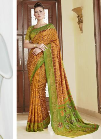 Yellow Silk Festival Wear Printed Work Saree