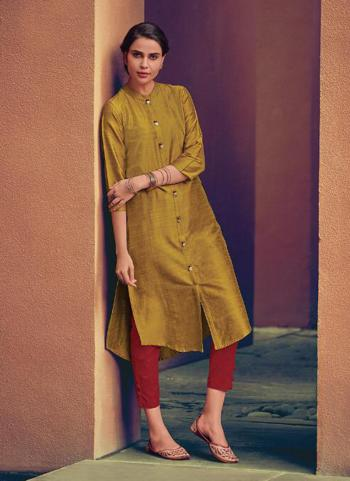 Yellow Silk Office Wear Work Kurti