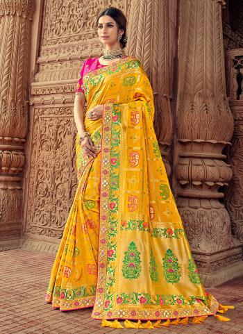 Yellow Silk Party Wear Weaving Saree