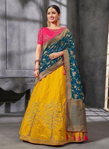 Yellow Silk Wedding Wear Embroidery Work Lehenga Choli