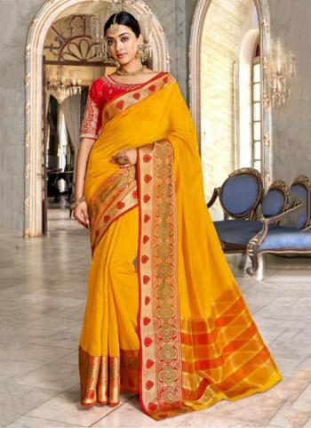 Yellow Silk Wedding Wear Weaving Saree
