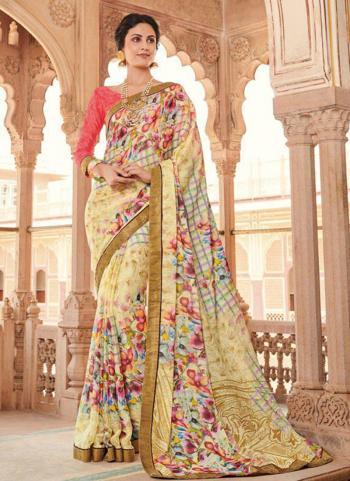 Yellow Weaving Jacquard Casual Wear Printed Work Saree