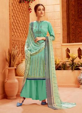 Jam Cotton New Fancy Embroidery Work Palazzo Suits Collection