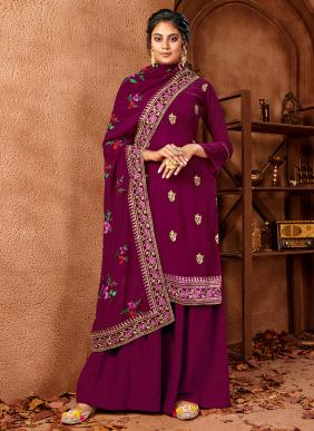 New Designer Embroidery Work Faux Georgette Palazzo Suits Collection