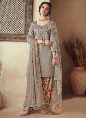 Panjabi Style New Designer Embroidery Work Pure Cotton Patiala Suits Collection