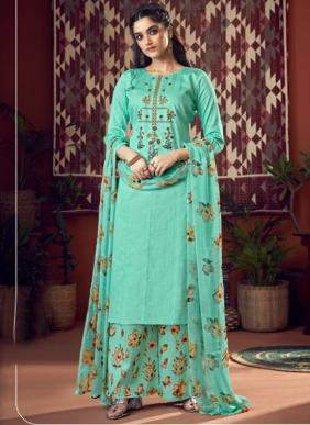 Heavy Jam Cotton Embroidery Work New Designer Palazzo Suits Collection