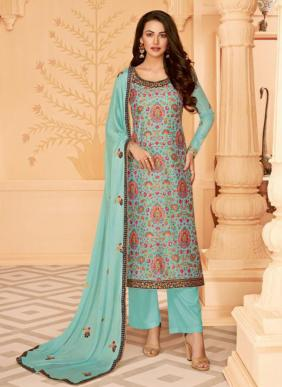 Digital Printed Tussar Silk New Designer Palazzo Suits Collection