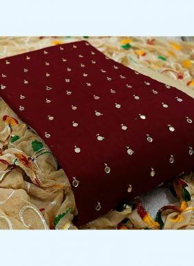 New Designer Slub Cotton Festival Wear Salwar Suits With Aari Work Dupatta Collection