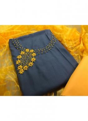 Hand Work Latest Designer Slub Cotton Traditional Wear Salwar Suits Collection