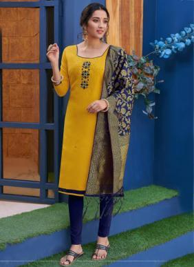 Poonam Designer Kalyani Handwork Heavy Cotton Readymade Kurti With Dupatta Collection