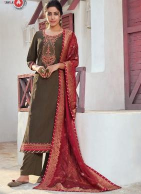 Triple AAA Khwahish Vol 2 New Designer Khatli Work Chinnon Silk Straight Salwar Suits Collection