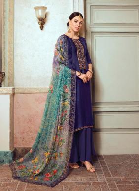 Hansa Husna Hridiya Georgette Satin Embroidery Work Latest Designer Palazzo Suits Collection