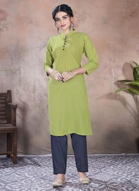 Daily Wear Rayon Embroidery Work Latest Designer Kurtis With Pants Collection