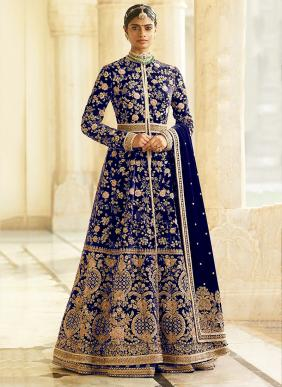 Velvet Heavy Embroidery And Moti Work New Designer Floor Length Anarkali Suits Collection