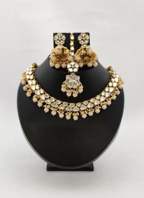Designer Diamond And Beads Necklaces With Earrings And Maang Tikka Collection