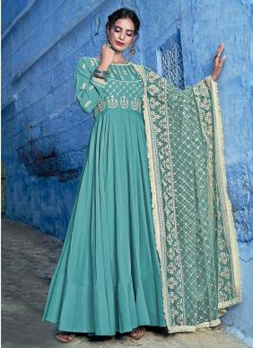 Muslin New Designer Lucknowi Work Readymade Anarkali Suits Collection