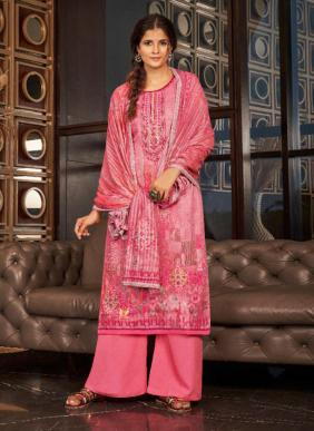 Casual Wear Embroidery Work Cotton Silk New Palazzo Suits Collection