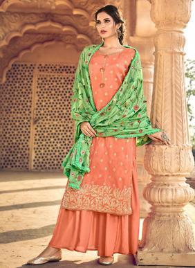 Eid Special New Designer Swarovski Work Jacquard Palazzo Suits Collection