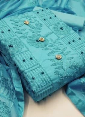PC Cotton New Fancy Chain Stitch Work Casual Wear Salwar Suits Collection