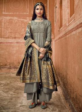 Ibiza Shahzadi Pure Muslin Traditional Wear Embroidery Work Palazzo Suits Collection