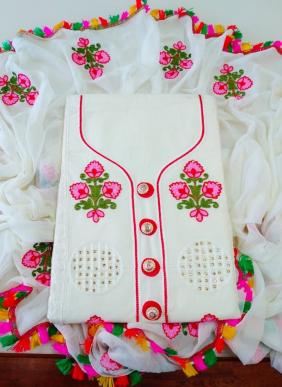 Multi Embroidery Work New Designer Cotton Casual Wear Salwar Suits Collection