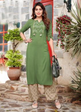 Ladies Flavour Singnature Vol 3 Rayon Embroidery Work New Fancy Kurtis With Palazzo Collection