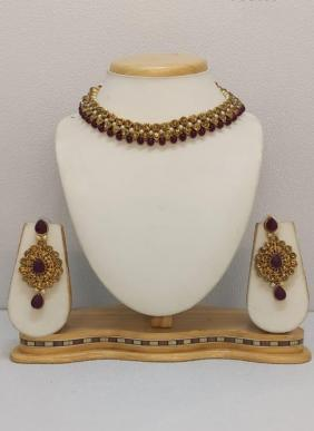 Maroon Beads Party Wear Designer Necklace