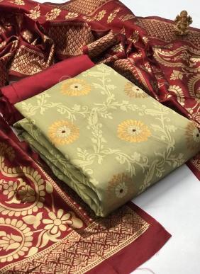 New Designer Weaving Banarasi Silk Festival Wear Salwar Suits Collection