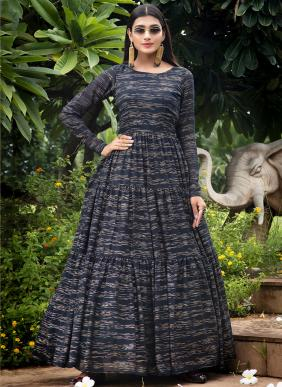 Khushbu Fashion Flory Vol 10 Foil Printed Diwali Special Georgette And Cotton Gowns Collection(Only Top Available)