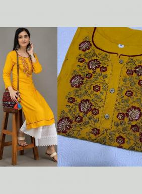 Cotton Embroidery Work New Designer Semi Stitched Kurtis With Bottoms Collection