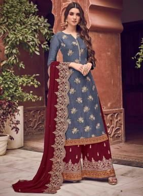 Swagat Dola Jacquard Heavy Work Latest Designer Wedding Wear Palazzo Suits Collection
