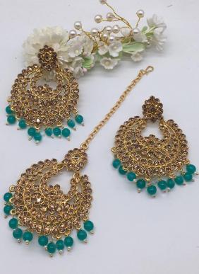 New Fancy Wedding Wear Earrings With Maang Tikka Collection