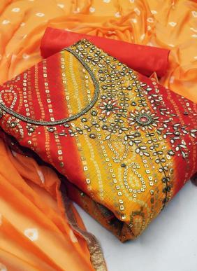New Designer Bandhani Printed Festival Wear Hand Work Salwar Suits Collection