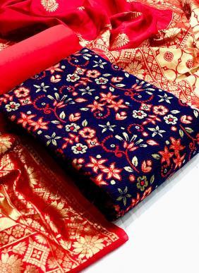 Vt Designer Bubble Banarasi Silk Eid Special Dress Material Collection