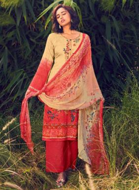 Belliza Rustic Green Heavy Embroidery Work Pure Cotton Salwar Suits Collection