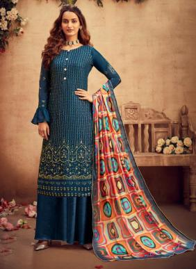 Hotlady Suraya Embroidery Work Pure Viscose Chinnon Palazzo Suits Eid Collection