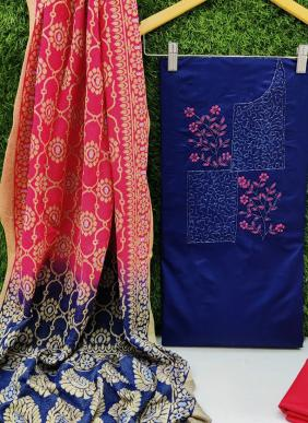 Hand Work Cotton Salwar Suits With Lycra Jacquard Dupatta Collection