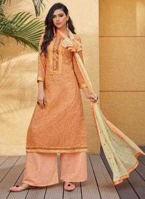 Ramaiya Rose Gold Neck Work Cotton Daily Wear Palazzo Suits Collection