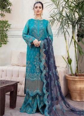 Ramsha Vol 3 Heavy Embroidery Work Eid Special Georgette Pakistani Suits Collection