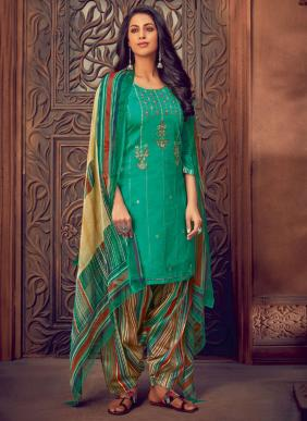 Leela Surili Embroidery Work Jam Cotton Silk Palazzo Suits Collection