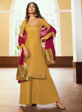 Zubeda Manzri Georgette Satin Embroidery Work Palazzo Suits Collection