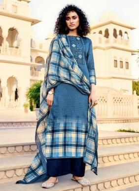 Tanishk Fashion Mehnaaz Embroidery Work Pure Jam Cotton Palazzo Suits Collection