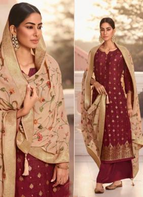Glossy Fashion Nihaara Viscose Dola jacquard Eid Special Palazzo Suits Collection