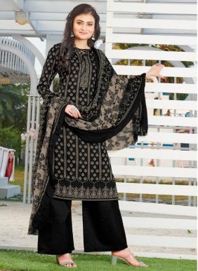 Biposn Kyraa Black Cotton Slub Palazzo Suits Collection