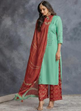 Om Tex Tathva Ramzan Eid Special Zaroon Silk Palazzo Suits Collection
