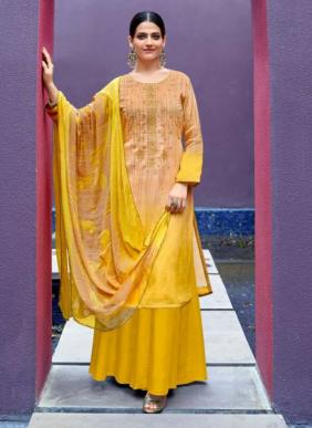 Sweety Fashion Heley Regular Wear New Designer Thread Work Pure Satin Palazzo Suits Collection