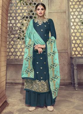 Amyra Designer Ceremony Pure Dola Viscose Latest Designer Wedding Wear Palazzo Suits Collection