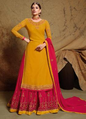 Sara Trendz Kamya Heavy Embroidery Work Wedding Wear Georgette Satin Lehenga Suits Collection