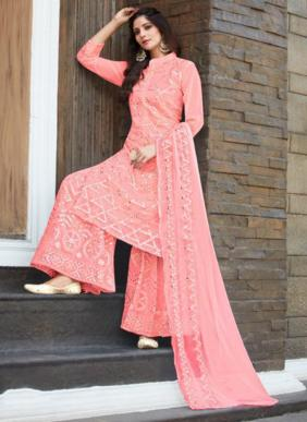 Your Choice Dollar Mirror Embroidery Work New Designer Georgette Palazzo Suits Collection